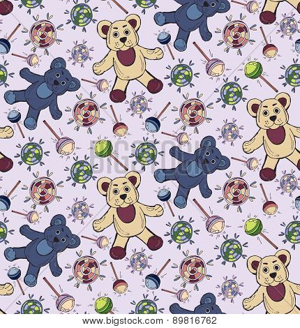 Bright seamless pattern with bears and candy