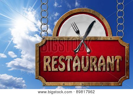 Restaurant Sign With Metal Chain