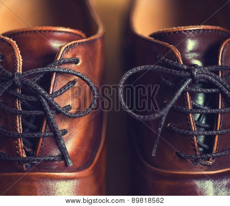 Close up of brown leather men's shoes.