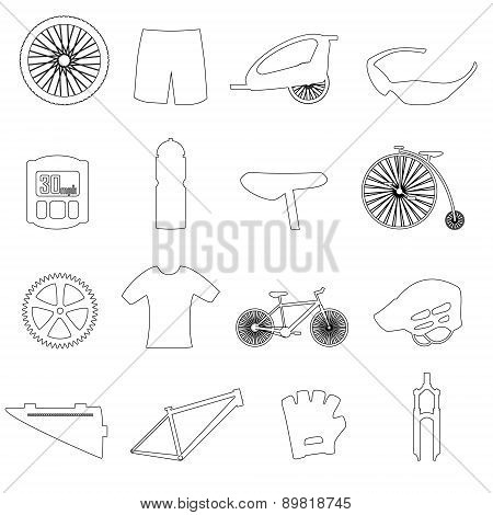 Black Outline Cycling Theme Icons Set Eps10