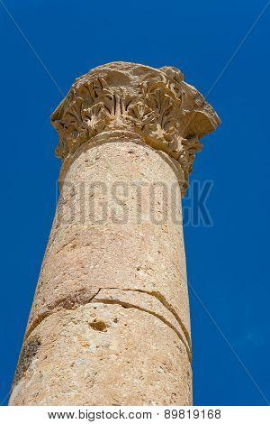 Ancient Ruin At Umm Qais In Jordan Closeup Of Pillars