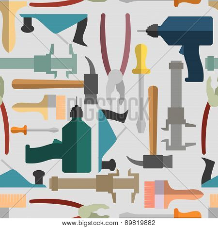 Construction Hand tools seamless Pattern. Vector background