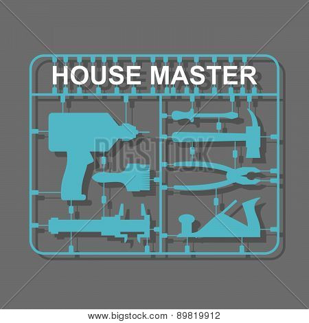 plastic model kits Construction tools. House master