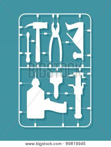plastic model kits Construction tools. Set for men