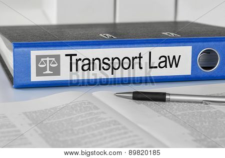Blue Folder With The Label Transport Law