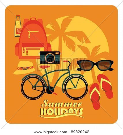 Vector Flat  Illustration Of Active Summer Holidays.
