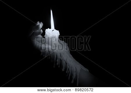 Open Hand Holding Candle Stick With Wax Flowing Down The Arm Artistic Conversion
