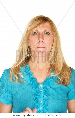 Confused Woman In Blue