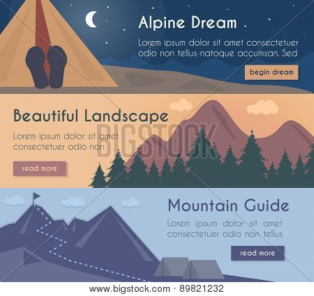 Vector Banners Illustration Set - Mountain Hiking In The Beautiful Landscape With Mountain Guide.