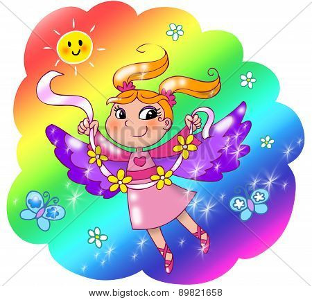 Cute rainbow fairy girl