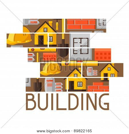 Industrial background design with housing construction objects