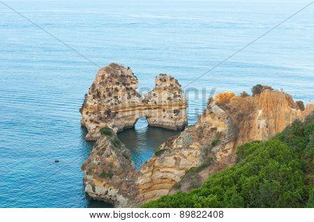 Atlantic Ocean with natural rocks in Lagos.
