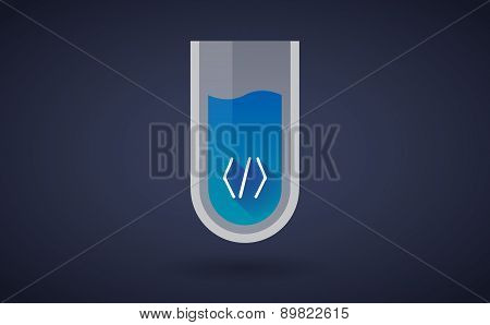 Blue Chemical Test Tube Icon With A Code Sign