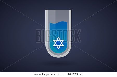 Blue Chemical Test Tube Icon With A David Star