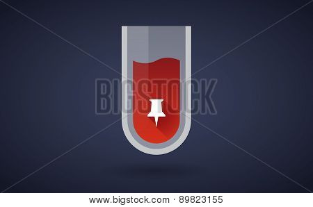Red Test Tube Icon With A Push Pin
