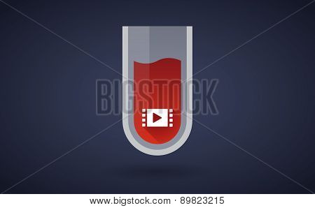 Red Test Tube Icon With A Multimedia Sign