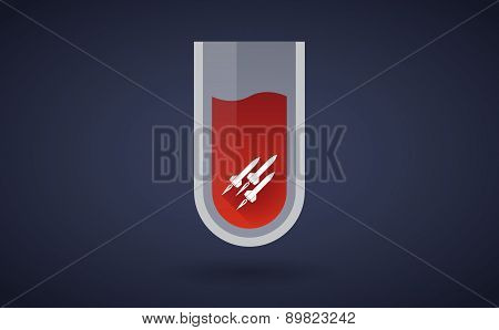 Red Test Tube Icon With Missiles