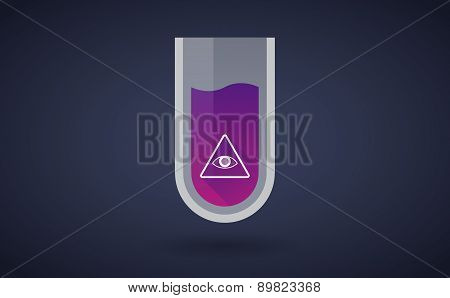 Purple Chemical Test Tube Icon With An All Seeing Eye