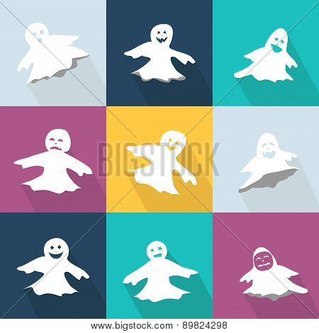 Icons set with funny ghosts