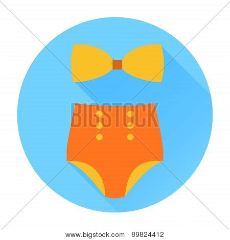 Swimming suit flat icon with long shadow 01