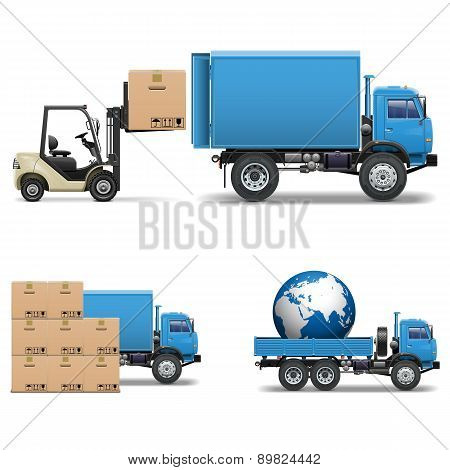 Vector Shipment Trucks and Forklift