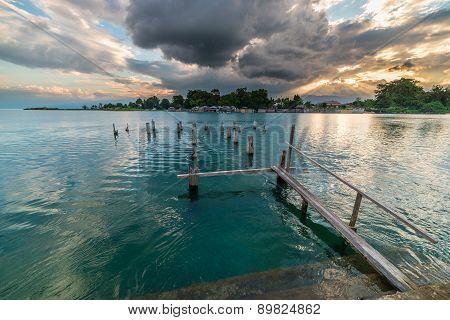 Old Jetty On Poso Lake At Dusk, Sulawesi, Indonesia