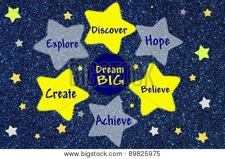 Dream big advice on blue glitter background
