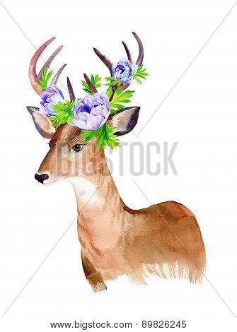 deer portrait with flowers