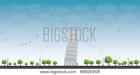 Pisa Tower with blue sky and tourist