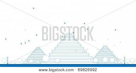 Outline Pyramids in Giza illustration in flat style