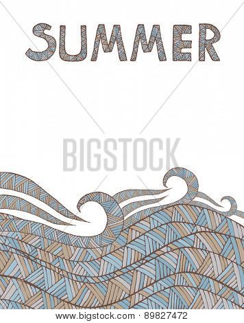 Vintage Wave Line and Triangle Hand-drawn Abstract Colorful Pattern with Summer text