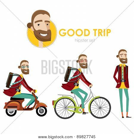 Hipster man on scooter