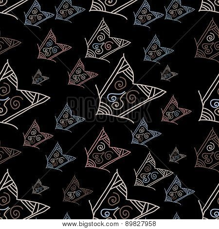 pattern with hand-drawn arrows on black background