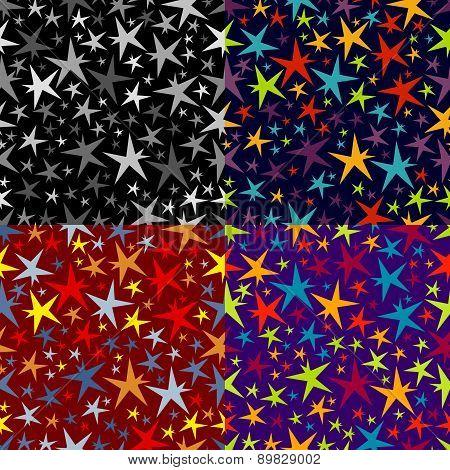 Set Of Seamless Patterns Of Stars