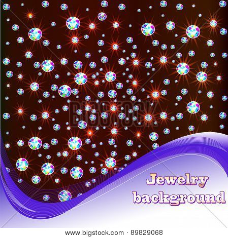 Background With Shiny Precious Stones And Place For Text