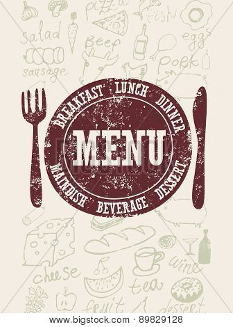 Restaurant menu design. Typographical retro poster with stamp and hand-drawn food. Vector illustrati