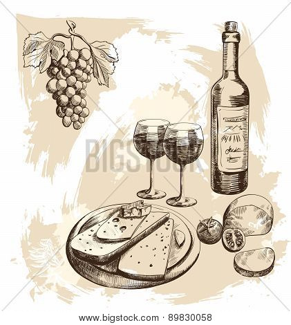 Set with wine and cheese