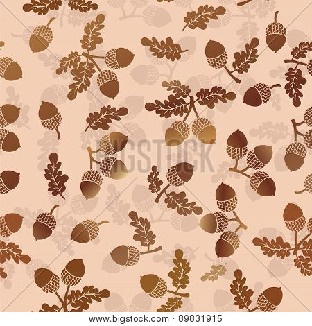 Acorns Oak Nut Vector Seamless Pattern
