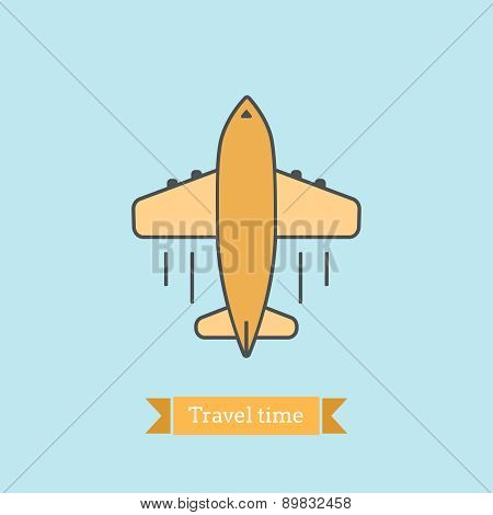 Flat Line Icon Of  Airplane Flight. Infographic Icon, Abstract Design Pictogram.