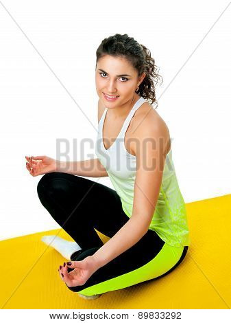 athletic girl engaged in yoga