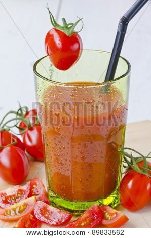 Tomato Juice In A Glass.