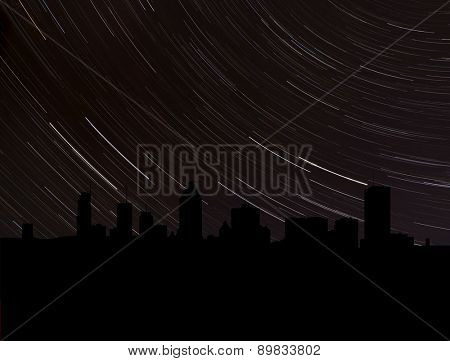 Montreal skyline silhouette with star trails illustration