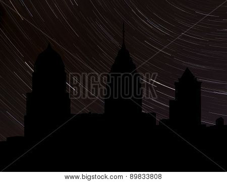 Philadelphia skyline silhouette with star trails illustration