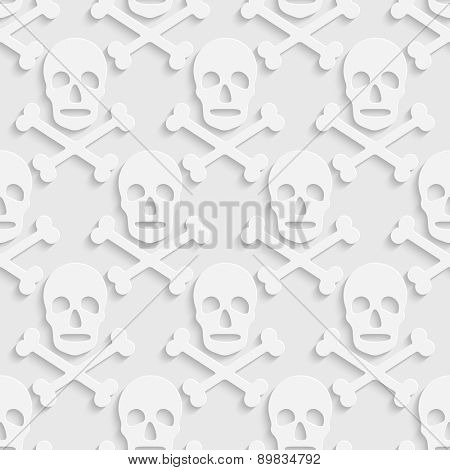 Seamless Skull Pattern. Vector White Background