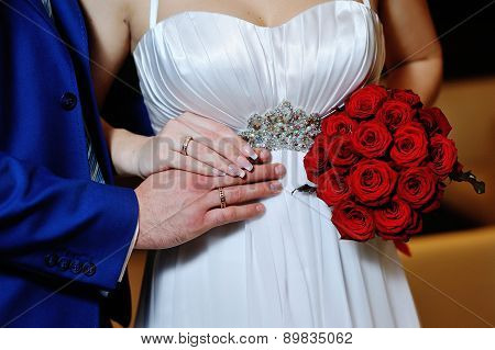 Close-up Of Bride's And Groom's Hands Showing Wedding Rings