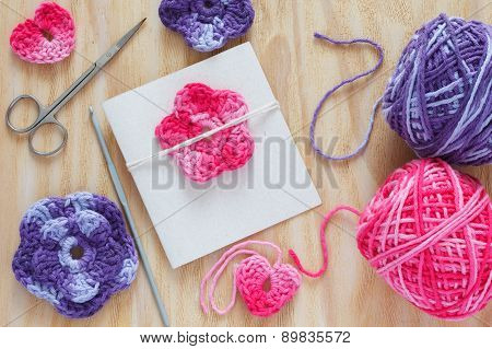 Handmade Crochet Flowers And Heart For Greetings Card