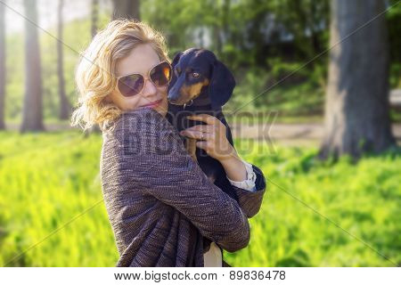 Pretty Lady With Dog