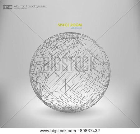Wireframe mesh polygonal element. Sphere with connected lines and dots. Vector Illustration EPS10. Wireframe mesh polygonal element. Abstract form with connected lines and dots.