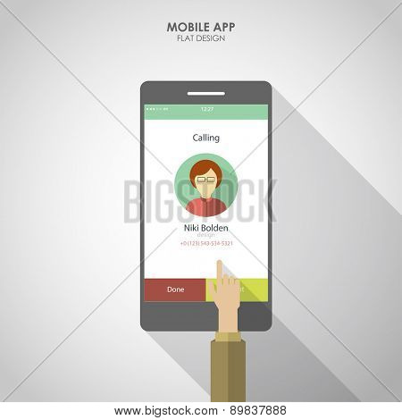 UI UX for  mobile phone app. Flat social icons smartphone design infographics. Vector illustration