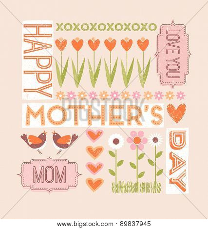 Happy Mothers Day greeting card in flat style with flowers, birds and hearts
